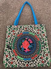 Multi Coloured Embroidery Floral Shoulder Bag With Bright Blue Back And Straps