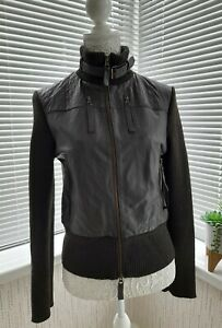 Next Brown Leather Bomber Flight Biker Jacket 100% Leather - Size 12 - Ex Cond