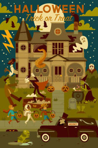 """Highly Collectable Lantern Press Halloween Postcard Lot - 4"""" X 6"""" - New"""