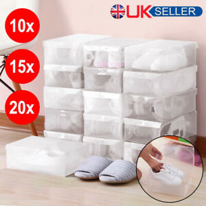 10/15/20x Plastic Shoe Storage Boxes Drawer Clear Organiser Container Stackable