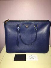 Authentic Prada Med Saffiano DoubleZip Executive Tote Bag, Blue (Astrale) No Res