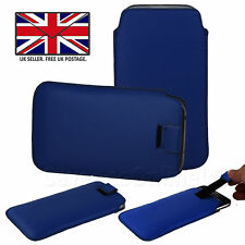 Blue Leather Slim Pull Tab Phone Cover Sleeve Pouch - Micromax Bharat 5 Infinity