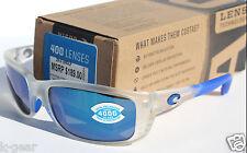 COSTA DEL MAR Zane POLARIZED Sunglasses Matte Crystal/Blue Mirror 400 GLASS RARE