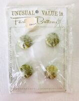 New on Card Vintage Unusual Value in Fashion Buttons four Large Yellow Green