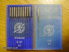11 pc Schmetz sewing machine needles B-27 Nm 80 Blukold coated