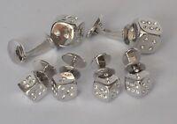 Jan Leslie Dice Cufflinks Studs Tuxedo Set Crystal Sterling Silver New $975 Sale