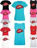Women Ladies Red Lips Slogan Print T shirt & Vest Trendy Summer Tank Top