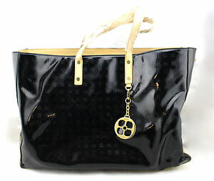 IMAN Global Chic Black Tan Faux Leather Trim Patent Large Shoulder Bag Tote New