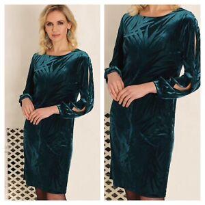 Pomodoro Plus Size 20 Teal Leaf Print Burnout DRESS Evening Xmas Party £86