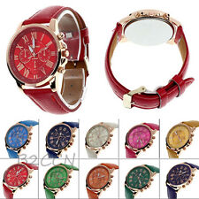 Women Lady Girls Watch Faux Leather Band Round Analog Quartz Stylish Wrist Watch