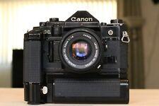 Canon A-1 35mm Film Camera, FD 50mm f1.8, Motor Drive MA w/ Battery Pack BUNDLE