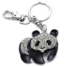 Black Panda Bear Animal Lover Keychain Key Ring Backpack Charm Jewelry k140