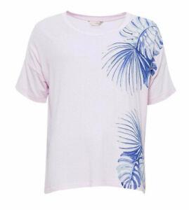 Ladies Pink Blue Palm Leaf Print T Shirt Short Sleeve Pyjama Top - SIZE 12 16
