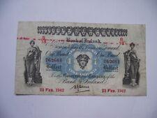 IRELAND (ÉIRE). IRISH HISTORY. WWII ISSUE. 1942 BANK of IRELAND £1 POUND NOTE.