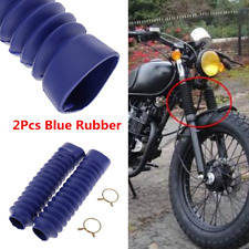 2x Blue Motorcycle Dirt Bike Front Fork Shock Boots Dust Cover Rubber Protector