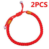 2pcs Men Women Red Lucky Rope Adjustable Bracelet For Good Luck Wealth Health