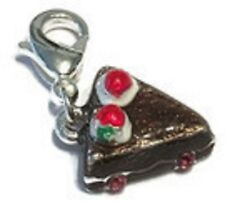 VERY NICEI BROWN & SILVER SLICE OF CHOCOLATE CAKE CLIP ON CHARM - SILVER PLATE