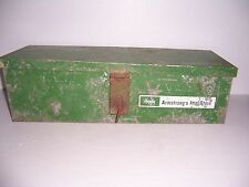 VINTAGE ARMSTRONG'S IMPLEMENT STORE HANDY BOX METAL ADVERTISING TOOL BOX