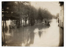 PHOTO ANCIENNE PARIS Inondations 1910 Barque Ile de France Paysage inondé