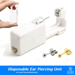 Disposable Ear Piercing Unit Kit - Silver Gold Stud Earring Gun DIY Home Self