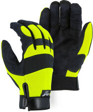 Majestic 2137Hy Armor Skin Mechanics Gloves, Black/Yellow, Size: Large, 3 Pair