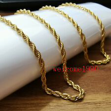Thin 2.3mm 20'' Stainless Steel Gold twisted chain Rope chain Necklace