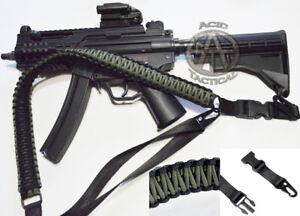 "60"" Tactical Paracord Gun Rifle Bow Shotgun Strap Sling 1 or 2 Point GREEN BLACK"