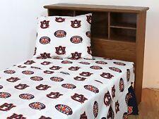 Auburn Tigers NCAA Printed Sheet Set, White