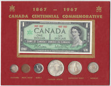 1967 Canada Centennial Set of Coins & Dollar Banknote on Cardboard Display Board
