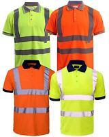 New Hi Visibility High Viz Short Sleeve Safety Work wear Collar Polo T-Shirt Top