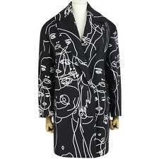 Stella McCartney Black Wool White Portrait Embroidered Cocoon Coat IT40 UK8