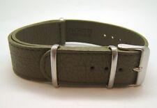 BRACELET TYPE NATO EN CUIR KAKI TAILLE 20 (20mm) NEUF