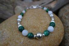 Handmade bracelet with Sterling Silver, White Jade & Malachite.