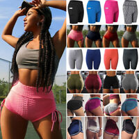 Womens Compression Yoga Shorts Sports Gym Fitness Running Butt Lift Booty Pants