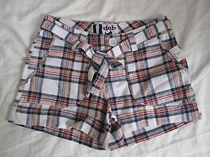 NEW DEB Short shorts size 1 White Red Blue Plaid Cute comfy Checkered w/ Belt!