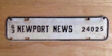1963 NEWPORT NEWS, VA, VIRGINIA LICENSE PLATE TOPPER, CITY TAX, STEEL, VINTAGE