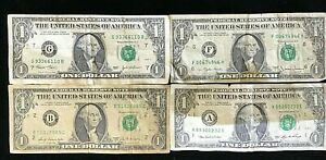 1969,1977,2003,2006  USA $1 bank notes X 4 Circulated.