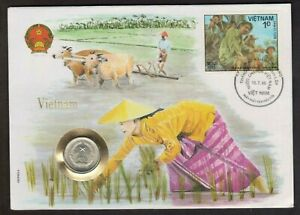 """Vietnam - """"RICE FARMING ~ RURAL AGRICULTURE"""" Coin Cover / PNC 1986"""