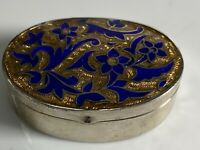 Vintage Hallmarked Sterling Silver With Blue & Gold Enamel Decoration Pill Box
