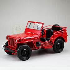 1:18 1/4 Ton US ARMY WILLYS JEEP TOP DOWN Diecast Car Model Welly 18036 Red