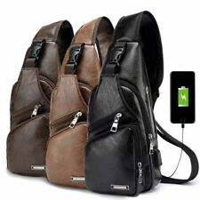 Mens Shoulder Bag Sling Chest Pack USB Charging Sports Crossbody Handbag US