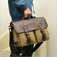 Men's Vintage Leather Canvas bag Messenger Shoulder Retro Briefcase Satchel Bags