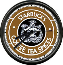 Starbucks Coffee Seattle Mermaid Espresso Pike Place Market Sign Wall Clock