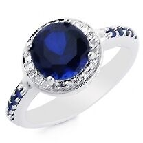 SAPPHIRE & DIAMOND HALO ANNIVERSARY ENGAGEMENT BAND RING SZ 5 SZ 6  + GIFT