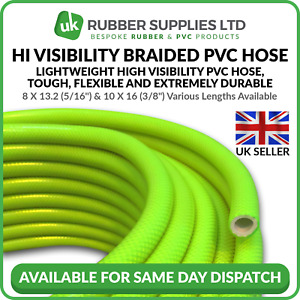 """Hi Visibility Braided PVC Air Line Hose Window cleaning 5/16"""",  3/8"""", 1/4"""""""
