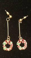 Betsey Johnson Dangling Wreaths Enamel Post Earrings ~Free Shipping~