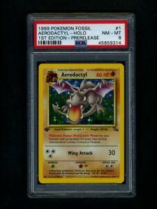 Pokemon PSA 8 NM-Mint PreRelease Aerodactyl Fossil 1st Edition Promo Card 1/62
