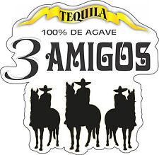 "Three Amigos Tequila Alcohol Bumper sticker, wall decor, viny decal, 5""x5"""