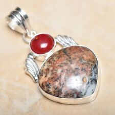 "Handmade Dendritic Tree Natural Agate 925 Sterling Silver Pendant 2"" #P11590"