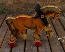Vintage German Wooden Pull Toy Horse #<